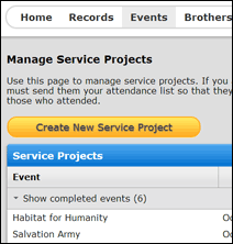 Screenshot of Event Management