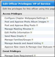 Screenshot of Custom Privileges