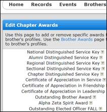 Screenshot of Chapter Awards