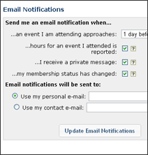 Screenshot of mail Notifications